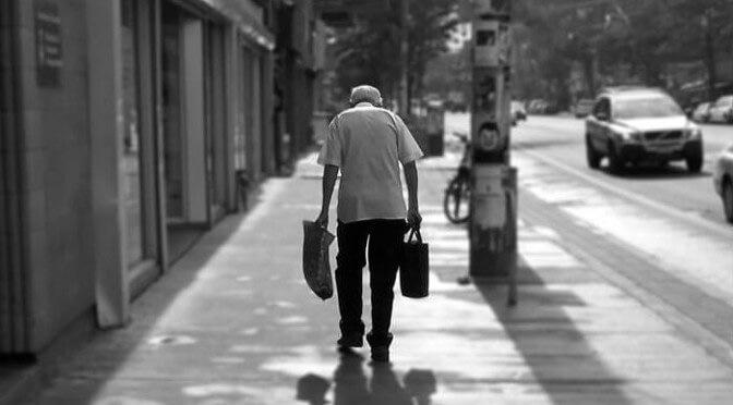 old man and his bags